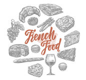 Hand Drawn French Food Elements Set. With traditional meals and dishes of national cuisine isolated vector illustration Royalty Free Stock Photography