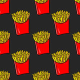 Hand drawn french fries. Seamless pattern with doodle fries on black background. Stock Photography