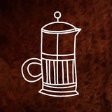 Hand drawn french press design element. Vector Stock Photo