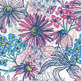 Hand drawn fresh floral seamless pattern Royalty Free Stock Images
