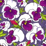 Hand drawn fresh purple viola flowers seamless pattern for fabric, wallpaper and textile design stock illustration