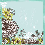 Hand drawn  fresh  retro floral card Royalty Free Stock Photo