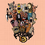Hand drawn Friday 13 grunge illustration Royalty Free Stock Photography
