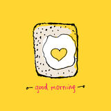 Hand drawn fried eggs and toast. Vector illustration stock illustration
