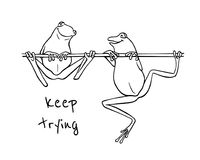Hand drawn frogs. Vector illustration of hand drawn cute frogs, one of them trying to climb the branch, the other has already succeeded. Beautiful design Stock Image