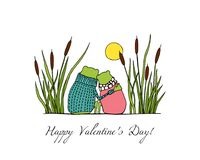 Hand drawn frogs. Vector illustration of hand drawn cute frog couple sitting close to each other among water plants. Beautiful design elements, funny romantic Royalty Free Stock Photography