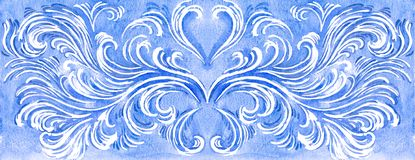 Hand drawn frosty pattern on white background. Watercolor backgr stock illustration