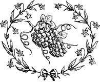 Hand Drawn Grape Wreath Stock Image