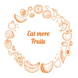Hand drawn fruit frame. Royalty Free Stock Images
