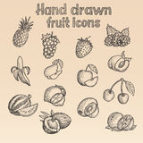Hand Drawn Fruit Icons (In Vector) Royalty Free Stock Photos