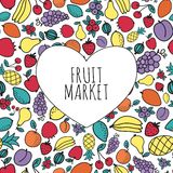 Hand-drawn fruit market concept. Heart shape with. Organic fruits. Vector illustration Stock Photography