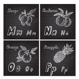 Hand drawn fruits alphabet Royalty Free Stock Photography