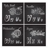 Hand drawn fruits alphabet Royalty Free Stock Images
