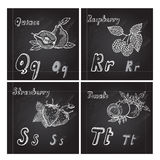 Hand drawn fruits alphabet Stock Images
