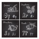 Hand drawn fruits alphabet Stock Images