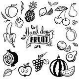 Hand drawn fruits set. Cherry, avocado, orange, lemon, apple, grape Stock Photos