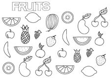 Hand drawn fruits set. Coloring book page template. Stock Photography