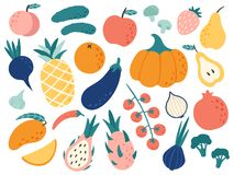 Hand drawn fruits and vegetables. Doodle organic food, vegan vegetable kitchen and doodles vector illustration set vector illustration