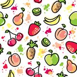 Hand drawn fruits pattern Stock Photography