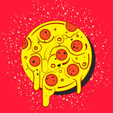 Hand drawn full circle of tasty pizza on red background. Modern fast food stylish logotype. Isolated vector illustration. Royalty Free Stock Photo