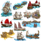 An hand drawn full sized collection, pack of Boats and Ships. Is Royalty Free Stock Image