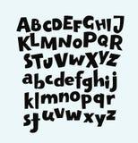 Hand drawn fun vector alphabet set. Handwritten bold trendy vector alphabet set. Playful calligraphic characters uppercase, lowercase. Black symbols shapes Royalty Free Stock Image