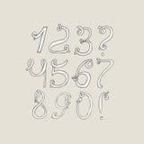 Hand-drawn funky cijfers, op lichte achtergrond worden geïsoleerd die Hand getrokken grunge opeenvolgingsillustratie Aantallen op Royalty-vrije Stock Afbeeldingen