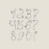 Hand-drawn funky digits, isolated on light background. Hand drawn grunge sequence  illustration. Numbers based on swirls, lo Royalty Free Stock Images