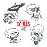 Hand drawn funky style sculls set. Jolly Roger Stock Photography