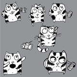 Hand drawn funny cats. With phone Stock Photography