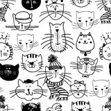 Hand drawn funny cats pattern Royalty Free Stock Photo