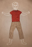 Hand drawn funny character in casual clothes Royalty Free Stock Photos