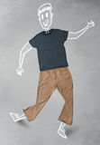Hand drawn funny character in casual clothes Royalty Free Stock Images