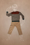 Hand drawn funny character in casual clothes Royalty Free Stock Photography