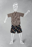 Hand drawn funny character in casual clothes. Hand drawn cute funny character in casual clothes Royalty Free Stock Image