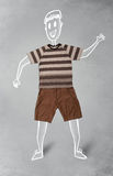 Hand drawn funny character in casual clothes. Hand drawn cute funny character in casual clothes Royalty Free Stock Photos