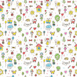 Hand drawn funny children drawings color seamless pattern. Doodl Royalty Free Stock Photo