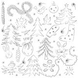 Hand Drawn Funny Doodle Christmas Sketch Set. Children Drawings of  Fir Trees, Gift, Candle, Toys, Angel Stars and Snowflakes Royalty Free Stock Photo
