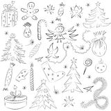 Hand Drawn Funny Doodle Christmas Sketch Set. Children Drawings of  Fir Trees, Gifts, Candle, Sweets, Angel, Stars and Snowflakes. Royalty Free Stock Photo