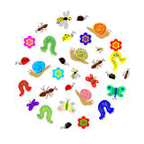 Hand Drawn Funny Doodle Insects arranged in a shape of circle. Colorful and Cute caterpillars, worms, butterflies, bees, ants Stock Photography