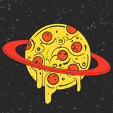 Hand drawn funny illustration of pizza-looking planet in space. Modern fast food stylish logotype or eating icon. Royalty Free Stock Photo