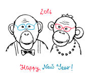 Hand drawn funny monkeys in a hipster style Royalty Free Stock Photography