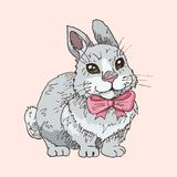 Hand drawn funny rabbit. With pink bow tie. Children illustration. Cartoon character. Easter symbol Royalty Free Stock Image
