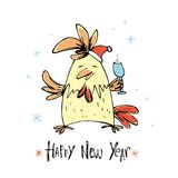 Hand drawn funny rooster on white background. Vector illustration of rooster, symbol of 2017 on the Chinese calendar. Element for New Year`s design. Cartoon stock illustration