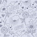Hand-drawn funny seamless pattern Royalty Free Stock Photos