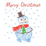 Hand drawn funny smiling snowman with christmas tree on snow background. Royalty Free Stock Photo