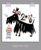 Hand drawn funny terrier and Christmas ball. Happy New Year! Stock Image