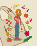 Hand drawn funny vegetarian girl going for shopping Stock Photo