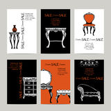 Hand Drawn Furniture  Banners In  Baroque Style Royalty Free Stock Photos