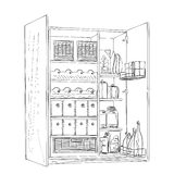 Hand drawn furniture sketch. Cartoon pantry of the line Stock Photography